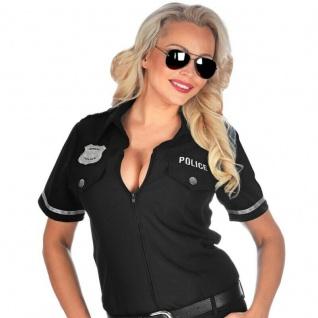 Polizei Polizistin Damen Kostüm - Bluse - schwarz Gr. S - XL Karneval Fasching