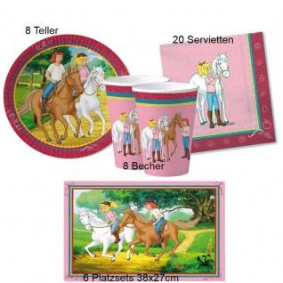 BIBI UND TINA Set Kinder Geburtstag Teller Becher Servietten Platzsets 42 tlg.