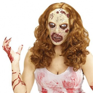 ZOMBIE FRAU MASKE & PERÜCKE Horror Grusel Krankenschwester Kostüm Party 01013