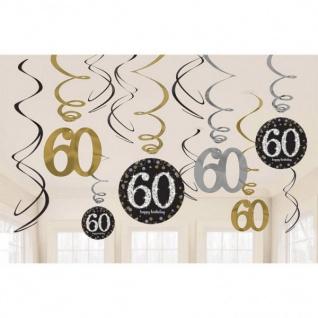 60. Geburtstag Party SWIRL GIRLANDE schwarz gold 12tlg. Raum Deko Glamour # 0480