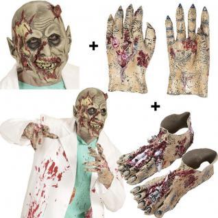 ZOMBIE Maske + Zombie Hände + Zombie Füße - Untoter Monster Kostüm Zubehör