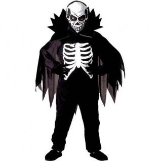SCARY SKELETON Gr. 128 Kinder Kostüm Gruseliges Skelett Halloween Tod 3844