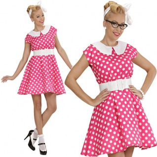 50er Petticoat pünktchen Kleid Rock´n Roll pink Damen Kostüm L 42/ 44 #5831