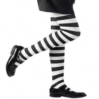 Kinder Strumpfhose schwarz-weiß-gestreift Mädchen Kostüm Zubehör für 1-14 Jahre