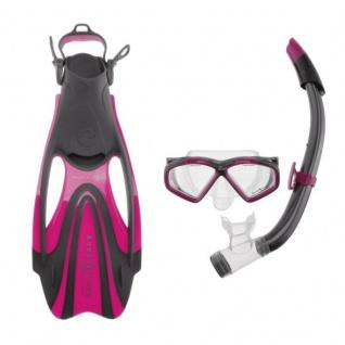 Aqualung Schnorchel Set für Erwachsene Hawkeye + Zinger Proflex Combo pink/grau