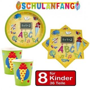 36 tlg. Set (B) Schulanfang Einschulung Party -Teller Becher Servietten 8 Kinder