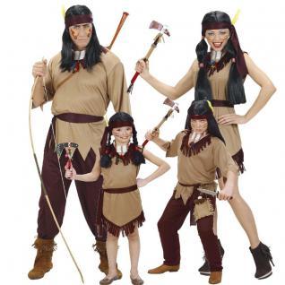 PREISHIT Indianer Indianerin Familien Kostüm Damen Herren Kinder Jungen Mädchen