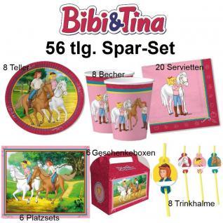 56 tlg. Spar-Set BIBI und TINA Kinder Geburtstag Party Set - Teller Becher