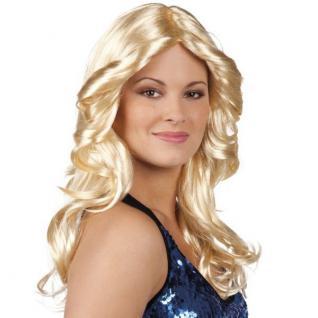 Damen Perücke DISCO DOLL blond wellig Langhaar 70er 80er Jahre Kostüm #6172