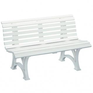 GARTENBANK HELGOLAND weiß 3 Sitzer Bank Möbel Gartenmöbel Sitzbank Kunststoff