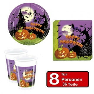 36 tlg. Halloween Party Set - SPOOKY - Teller Becher Servietten für 8 Personen