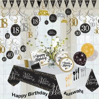 Happy Birthday Geburtstag gold silber schwarz Party Artikel Deko Feier Zahl