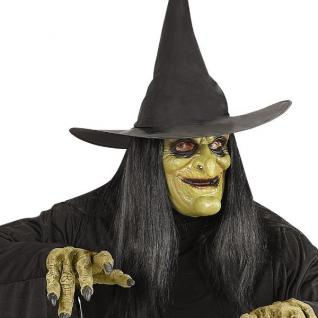 Latex Maske HEXE MIT HAAR Halloween Horror Karneval Fasching 0459
