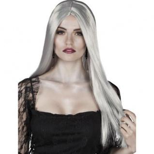 TOP Damen Perücke - Hexe Vampir Langhaar grau Halloween (082)