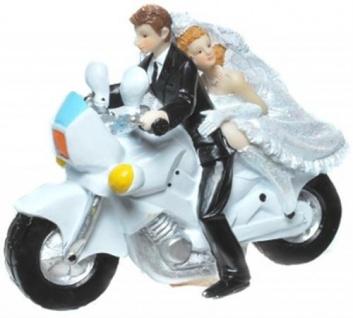 Hochzeitspaar auf Motorrad Hochzeit Brautpaar Tortenfigur Geschenk