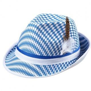 bayrischer TRACHTEN TIROLER HUT mit Feder Fedora Bayern Oktoberfest blau-weiß