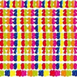 Girlande Papier 600cm WUNSCHZAHL Zahl 1 - 10 Deko Geburtstags Jubiläums Party