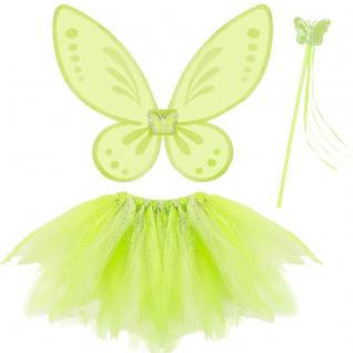 3tlg. Feen Kostüm Set Grün - Tüllrock Flügel Zauberstab - Schmetterling Set
