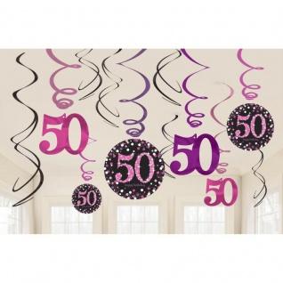 50. Geburtstag Party 12 Swirl Girlanden Glamour Pink Schwarz Raum Deko #0613