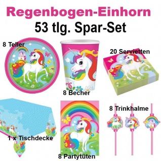 53 tlg. Super Spar-Set REGENBOGEN EINHORN Kinder Geburtstag Party Deko