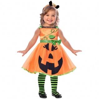Kürbis Mädchen Kostüm Gr. 98, 104 Kleid + Haarreif Halloween Kleinkinder