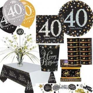 40. Geburtstag Glitzer Gold Geburtstag Party Deko Set 40 Zahl runder Geburtstag