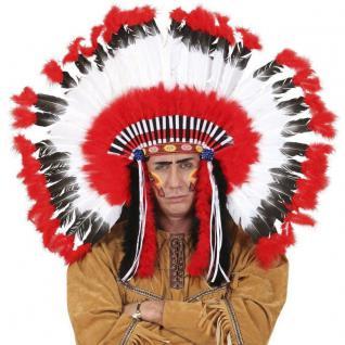 Indianer Kopfschmuck deluxe Häuptling Indianerin Zubehör Kostüm Zubehör #2927