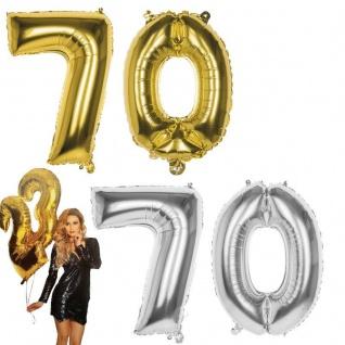 70.Geburtstag XXL FOLIENBALLON Zahl 86cm Gold /Silber Helium Luftballon Jubiläum