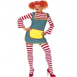 Damen Kostüm KLEID MIT STRUMPFHOSE 46/48 (XL) Starkes Mädchen Naughty Girl