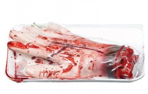 abgehackte Hand Halloween Blut Dekoration Deko Party Horror Grusel Unfall