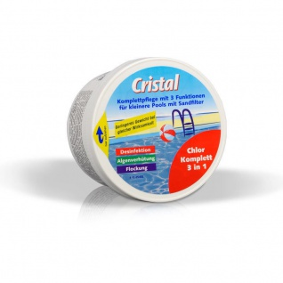 Cristal Chlor Komplett 3in1 0, 4kg Komplettpflege für Schwimmbecken bis 20m³ Pool