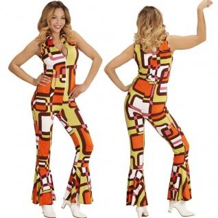 70er Chic Disco Queen Girl OVERALL Damen Kostüm Hippie Jumpsuit Schlagermove 60e