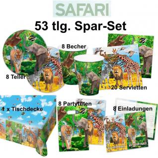 53 tlg. Super Spar-Set SAFARI DSCHUNGEL Kinder Geburtstag Party -Teller Becher