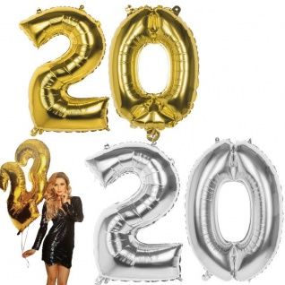 20. Geburtstag Jubiläum XXL FOLIENBALLON Zahl 86cm Gold/Silber Helium Luftballon