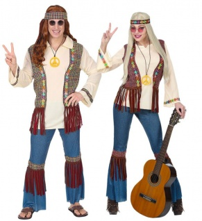 Hippie Kostüm 60er 70er Partnerkostüm Damen & Herren Jeans Optik Schlaghose