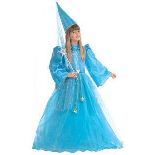 KINDER FEENKOSTÜM BLAU Größe 140 Karneval Mädchen Feen Elfe Kostüm Kleid 3896
