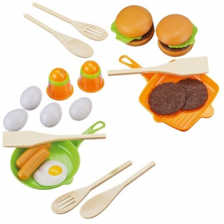 Kinder Küchen Spielsets - 2 Pfannen mit Spiegelei, Hamburger und viel Zubehör
