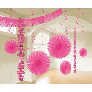 18 tlg. XL Raum Deko-Set - pink - Party Feier Hochzeit Girlande Geburtstag