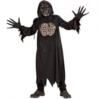 3tlg. Kostüm ZOMBIE DÄMON Skelett für Kinder Jugendliche -Halloween Karneval