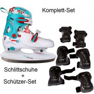 Schlittschuhe Mädchen + Schützer Set verstellbar 27-30 30-33 34-37 38-41 #09