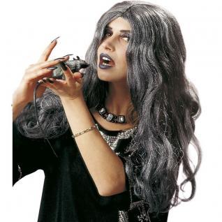 Damen Langhaar Hexen Perücke Crudelia Vampir Zauberin Halloween grau silbergrau