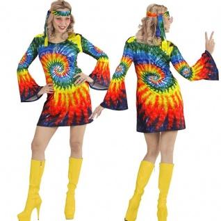HIPPIE GIRL 60er 70er Damen Kostüm Flower Power Groovy Psychedelic Batik Kleid