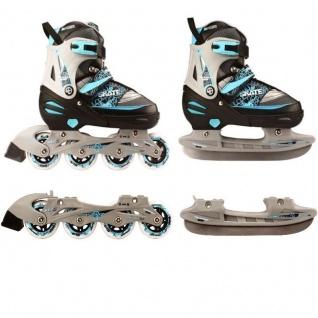 Kinder Inliner und Schlittschuhe 2 in 1 Größe verstellbar 39 - 42 Skater (blau)