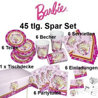 46 tlg. Super Spar-Set BARBIE Kinder Geburtstag Party Deko Pferde Teller Becher