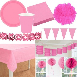 Party Deko - Alles in der Farbe ROSA/PINK Laterne Fächer Girlande Pompom Teller