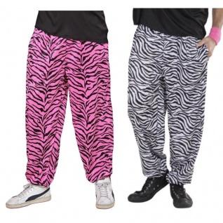70er 80er Proll Zebra Trainingshose Herren Kostüm Jogginghose weiß od. pink schw