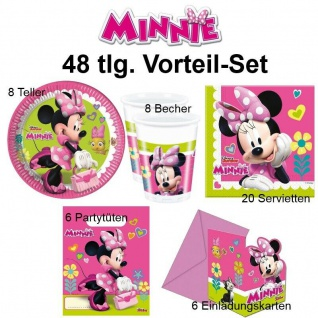 MINNIE MAUS pink Party Set-Becher Servietten Teller - Kinder Geburtstag 48 tlg.
