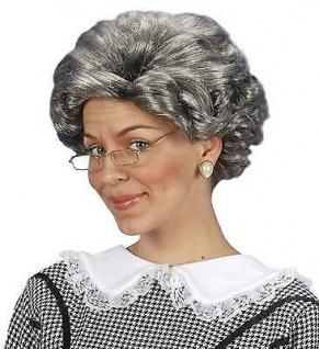 PERÜCKE OMA alte Frau grau gelockt Großmutter Perrücke Karneval Kostüm