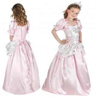Prinzessin Kleid mit Diadem pink/rosa Kinder Kostüm - Neu Mädchen Karneval Fasc