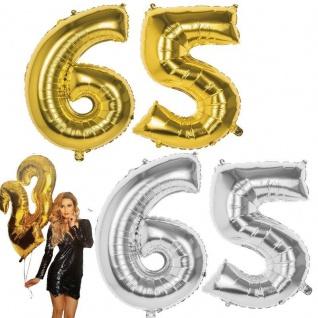65.Geburtstag XXL FOLIENBALLON Zahl 86cm Gold /Silber Helium Luftballon Jubiläum